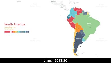 Colorful detailed vector map of the South American country. - Stock Photo