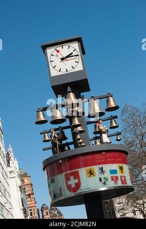 Swiss clock and glockenspiel in Leicester Square, City of Westminster, London, England.
