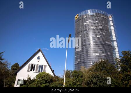 the Post Tower, headquarters of the logistics company Deutsche Post DHL Group, single-family detached house in the Gronau district, Bonn, North Rhine-