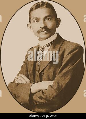 A  portrait of a young Mahatma Gandhi (aged 37) -- Mohandas Karamchand Gandhi (1869 – 1948) was an Indian lawyer, civil rights activist, anti-colonial nationalist, and political ethicist,  who  was famous for his nonviolent resistance in his  successful campaign for India's independence from British rule.