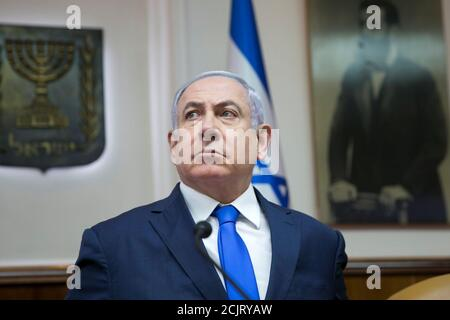 Israeli Prime Minister Benjamin Netanyahu attends the weekly cabinet meeting in Jerusalem, March 17, 2019. Ariel Schalit/Pool via REUTERS - Stock Photo