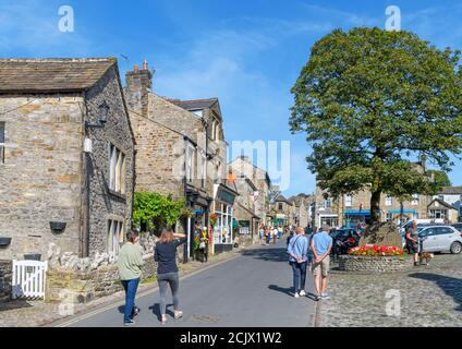 The Square and Main Street in the  traditional English village of Grassington, Yorkshire Dales National Park, North Yorkshire, England, UK.