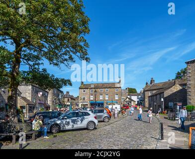 The Square in the traditional English village of Grassington, Yorkshire Dales National Park, North Yorkshire, England, UK.