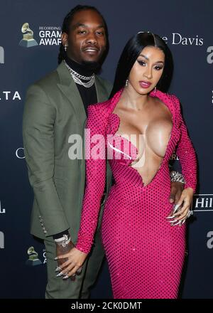 Beverly Hills, United States. 15th Sep, 2020. (FILE) Cardi B Files for Divorce from Offset After 3 Years of Marriage. BEVERLY HILLS, LOS ANGELES, CALIFORNIA, USA - JANUARY 25: Rapper Offset (Kiari Kendrell Cephus) and wife/rapper Cardi B (Belcalis Marlenis Almanzar) arrive at The Recording Academy And Clive Davis' 2020 Pre-GRAMMY Gala held at The Beverly Hilton Hotel on January 25, 2020 in Beverly Hills, Los Angeles, California, United States. (Photo by Xavier Collin/Image Press Agency) Credit: Image Press Agency/Alamy Live News - Stock Photo