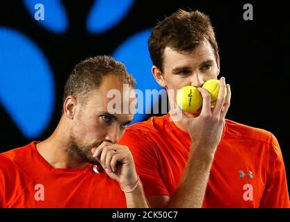 Britain's Jamie Murray (R) and Brazil's Bruno Soares talk during their doubles final match at the Australian Open tennis tournament at Melbourne Park, Australia, January 30, 2016. REUTERS/Issei Kato - Stock Photo