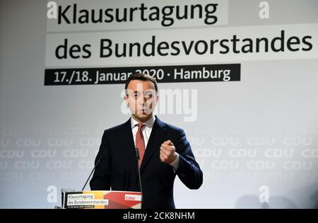 Germany's Christian Democratic Union Secretary General Paul Ziemiak speaks during a CDU board meeting Hamburg, Germany January 17, 2020. REUTERS/Fabian Bimmer