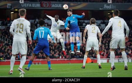 Soccer Football - Europa League Round of 32 Second Leg - Arsenal vs Ostersunds FK - Emirates Stadium, London, Britain - February 22, 2018   Arsenal's Sead Kolasinac in action with Ostersunds FK's Ronald Mukiibi       REUTERS/Eddie Keogh - Stock Photo