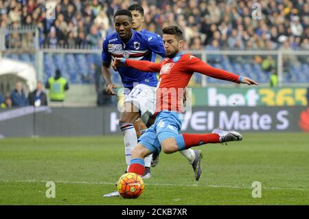 Football Soccer - Sampdoria v Napoli - Italian Serie A - Marassi stadium, 24/01/16Napoli's Dries Mertens scores against Sampdoria.  REUTERS/Giorgio Perottino - Stock Photo