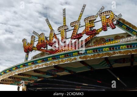 The front of the Waltzer Fairground ride at the end of the Brighton Pier, in East Sussex, England