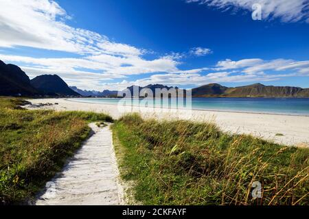 Ramberg beach or Rambergstranda in sunny blue sky day on Flakstadoya island, Lofoten archipelago islands, Nordland county, Norway