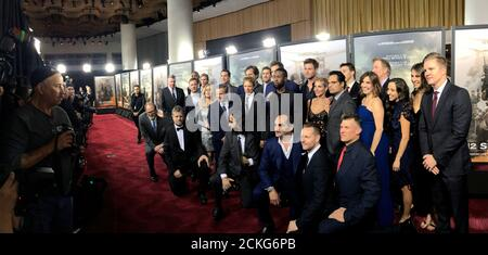 The cast and crew attend the world premiere of '12 Strong' in Manhattan, New York City, U.S. January 16, 2018. REUTERS/Andrew Kelly - Stock Photo