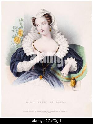 Mary Queen of Scots (1542-1587), lithographic portrait print by Joseph Bouvier, 1830-1839 - Stock Photo