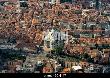 Italy. Lombardy. City of Como. Aerial view from Brunate of the city and the Santa Maria Assunta cathedral also called Duomo