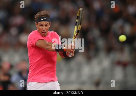 Tennis - 'The Match In Africa' Exhibition Match - Cape Town Stadium, Cape Town, South Africa - February 7, 2020   Spain's Rafael Nadal in action during the exhibition match against Switzerland's Roger Federer   REUTERS/Mike Hutchings - Stock Photo