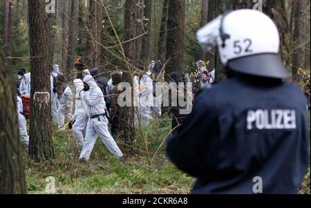 Anti-nuclear activists walk in the forest before blocking the railway track in the small village of Leitstade near Dannenberg, November 7, 2010. Tens of thousands of protesters took part in one of the largest anti-nuclear rallies in years on Saturday as the first shipment of Castor rail containers of reprocessed German nuclear waste in two years was slowed by activists on its way from France back to Germany.    REUTERS/Fabrizio Bensch (GERMANY - Tags: POLITICS CIVIL UNREST ENVIRONMENT) - Stock Photo