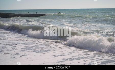 Waves at Rejnisfjara black sand beach, slow motion . Raging waves on the black sea in slow motion. - Stock Photo