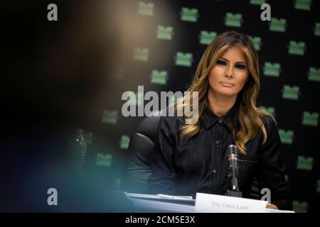 U.S. first lady Melania Trump listens during a roundtable discussion with local and state leaders at Cabell-Huntington Health Department in Huntington, W.V., U.S., July 8, 2019. REUTERS/Al Drago - Stock Photo