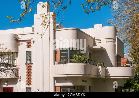Art Deco or Streamline Moderne 1930s apartment block in Elwood, Victoria, Australia - Stock Photo