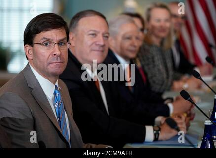 U.S. Defense Secretary Mark Esper and Secretary of State Mike Pompeo host Indian Minister of External Affairs Subrahmanyam Jaishankar and Minister of Defense Shri Rajnath Singh during the 2019 U.S.-India 2+2 Ministerial Dialogue at the State Department in Washington, U.S., December 18, 2019. REUTERS/Joshua Roberts - Stock Photo