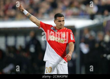 Soccer Football - Coupe de la Ligue Final - Paris St Germain vs AS Monaco - Matmut Atlantique Stadium, Bordeaux, France - March 31, 2018   Monaco's Rony Lopes gestures   REUTERS/Regis Duvignau - Stock Photo