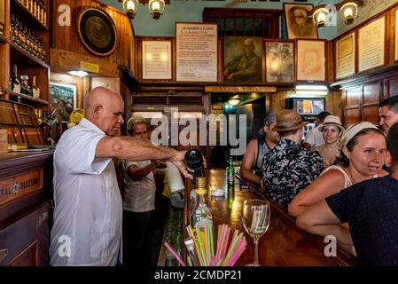 August 23, 2019: Interior of La Bodeguita Del Medio famous bar. Havana, Cuba - Stock Photo