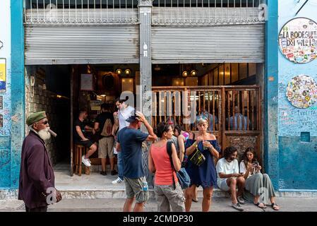 August 23, 2019: People and tourists outside La Bodeguita del Medio. Old Havana, Cuba - Stock Photo