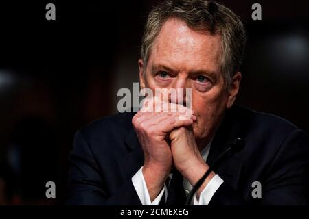 U.S. Trade Representative Robert Lighthizer listens during a Senate Finance Committee hearing on President Donald Trump's 2020 Trade Policy Agenda on Capitol Hill in Washington, D.C., U.S., June 17, 2020. Anna Moneymaker/Pool via REUTERS - Stock Photo