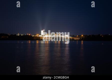 Alexandria, Virginia/USA-September 16th, 2020: A nighttime photo of the MGM National Harbor Casino.