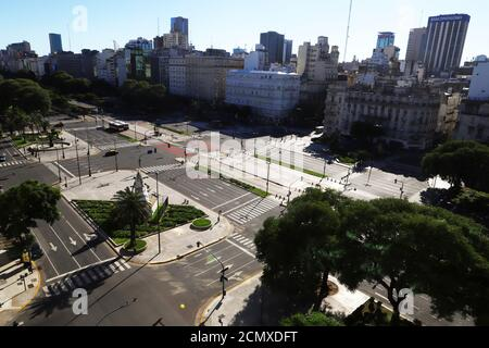 General view of the 9 de Julio avenue deserted, one of the main avenues of the city, while Argentines stay at home during the mandatory quarantine due to coronavirus disease (COVID-19), in Buenos Aires, Argentina March 23, 2020. REUTERS/Matias Baglietto - Stock Photo