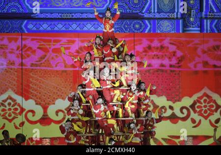 Drum dancers perform to celebrate the new year during a countdown event at Tai Miao, the imperial ancestral temple in the Forbidden City, in Beijing, China, December 31, 2015. REUTERS/Jason Lee - Stock Photo