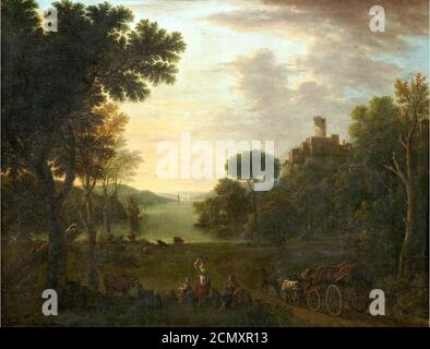 John Wootton (Snitterfield 1682-1764 London), An extensive river landscape with figures and a wagon on a track, oil on canvas, 42.5 x 55in. Bonhams. - Stock Photo