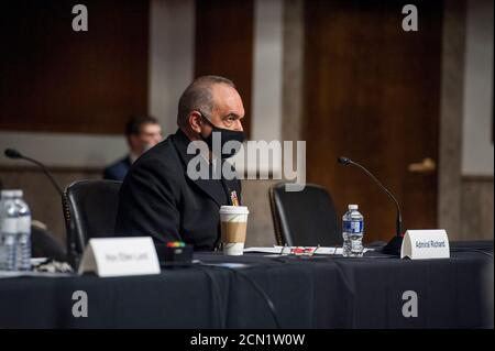 Admiral Charles A. Richard, USN Commander, United States Strategic Command, appears before a Senate Committee on the Armed Services hearing to examine matters relating to the budget of the National Nuclear Security Administration, in the Dirksen Senate Office Building on Capitol Hill in Washington, DC., Thursday, September 17, 2020. Credit: Rod Lamkey/CNP /MediaPunch - Stock Photo