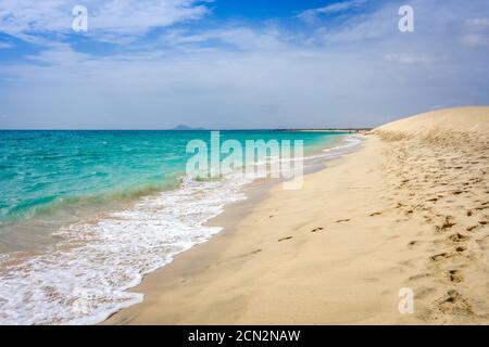 Ponta preta beach and dune in Santa Maria, Sal Island, Cape Verde - Stock Photo