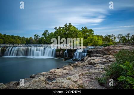Grand Falls waterfall is the largest continuously flowing natural waterfall in Missouri. It is located in Joplin in the southwest region of Missouri. - Stock Photo
