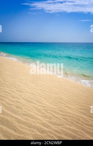 Ponta preta beach and dune in Santa Maria, Sal Island, Cape Verde - Stock Photo