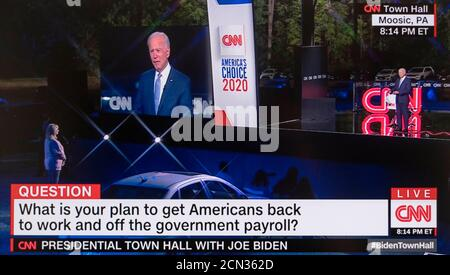 Moosic, Pennsylvania, USA. 17th Sep, 2020. Screen grab from the CNN Town Hall with Democratic nominee for president, JOE BIDEN. Moderated by Anderson Cooper, and taking place in the parking lot of PNC Field with social distance protocols in place for the 35 cars and 100 people, Vice President Biden fielded questions on a variety of subjects on the minds of Pennsylvania voters. Credit: Cnn/ZUMA Wire/Alamy Live News - Stock Photo
