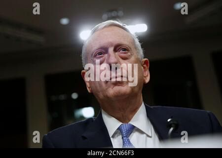Retired Marine Corps Gen. James Mattis appears before a Senate Armed Services Committee hearing on his nomination to serve as defense secretary., on Capitol Hill in Washington, U.S., January 12, 2017.  REUTERS/Jonathan Ernst - Stock Photo