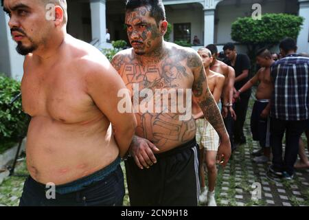 Members of the Mara Salvatrucha gang (MS-13) are escorted after being presented to the media after being detained by the police during a private party in San Salvador, El Salvador, August 10, 2017. REUTERS/Jose Cabezas - Stock Photo