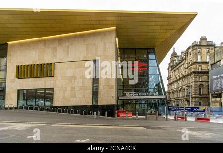 New frontage of Glasgow Queen Street railway station seen from Dundas Street with entrance  in city centre Glasgow Scotland UK - Stock Photo