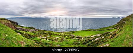 Panoramic view from Slea Head Viewing Point on Blasket Islands and Dingle Peninsula - Stock Photo