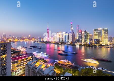 night view of shanghai north bund