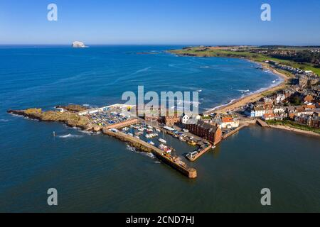 Aerial view of North Berwick harbour and Milsey bay beach, East Lothian, Scotland.