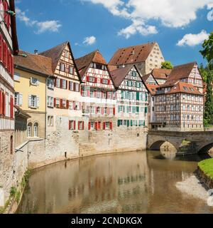 Half timbered houses in the old town, Schwaebisch Hall, Hohenlohe, Baden-Wurttemberg, Germany, Europe - Stock Photo