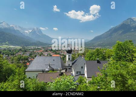 View from Pilgrimage Church St. Anton to Kramer Mountain, Bavarian Alps, Garmisch-Partenkirchen, Werdenfelser Land, Upper Bavaria, Germany, Europe - Stock Photo