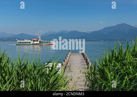 Excursion boat on Lake Chiemsee, Chiemgau, Upper Bavaria, Germany, Europe - Stock Photo