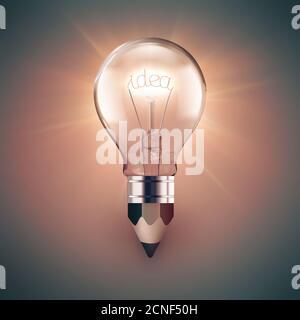 light bulb and pencil