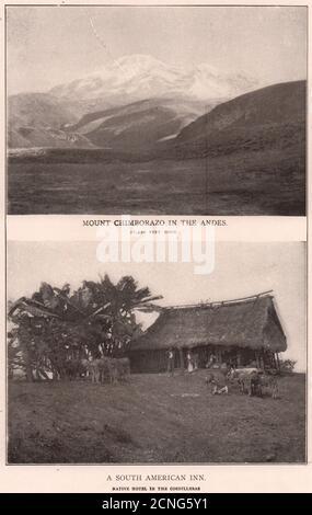 Andes. Mount Chimborazo. South American Inn in the Cordilleras. Ecuador 1903 - Stock Photo