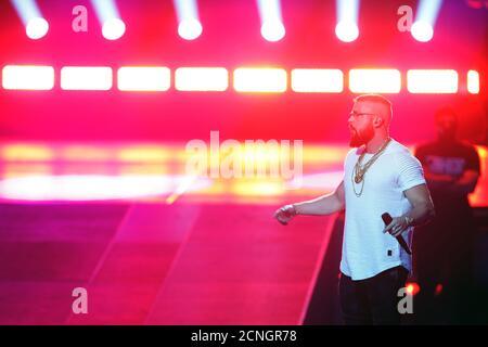 German rapper Kollegah performs during the 2018 Echo Music Award ceremony in Berlin, Germany April 12, 2018. Axel Schmidt/Pool via Reuters - Stock Photo