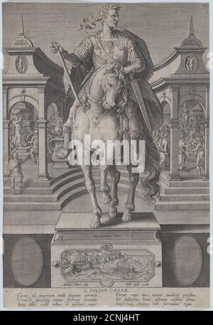 Plate 1: equestrian statue of Julius Caesar, seen from the front, with a scene of a naval battle on pedestal below, from 'Roman Emperors on Horseback', ca. 1587-89. Stock Photo