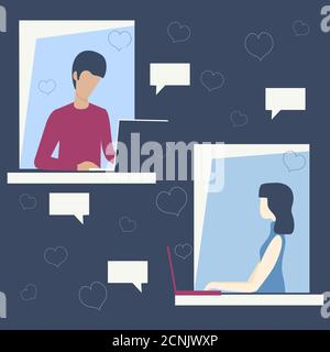 Online dating. Woman and man sitting at desk, looking at computer screen and chatting online. Vector illustration.